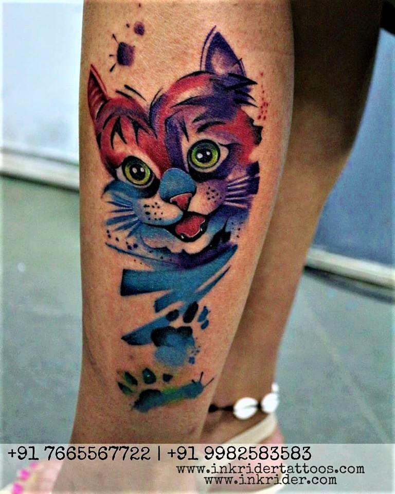 Cat Tattoo by Rajveer Singh
